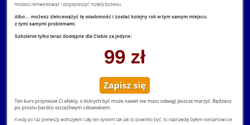 One Time Offer po zapisaniu na listę adresową