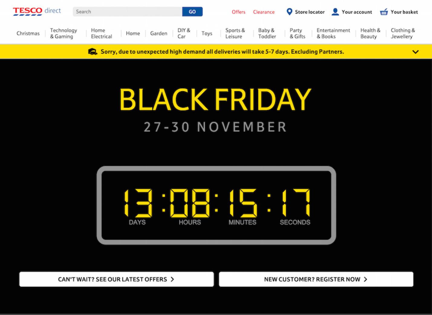 Black Friday - landing page - licznik na stronie