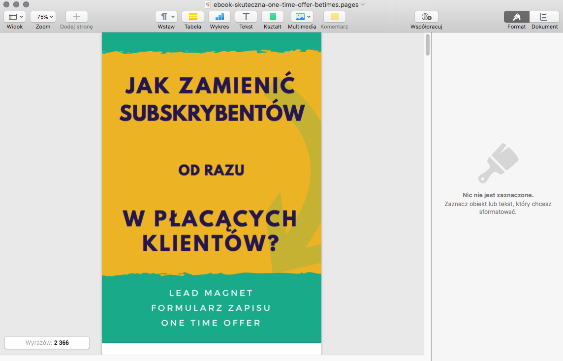 Okładka ebooka w Pages